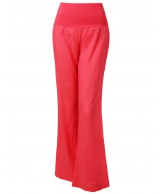 Women's Wide Leg Linen Pants Fold Over Waistband
