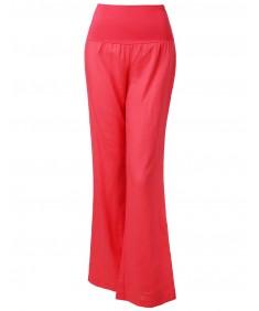 Women's Wide Leg Linen Pants Fold Over Waistband