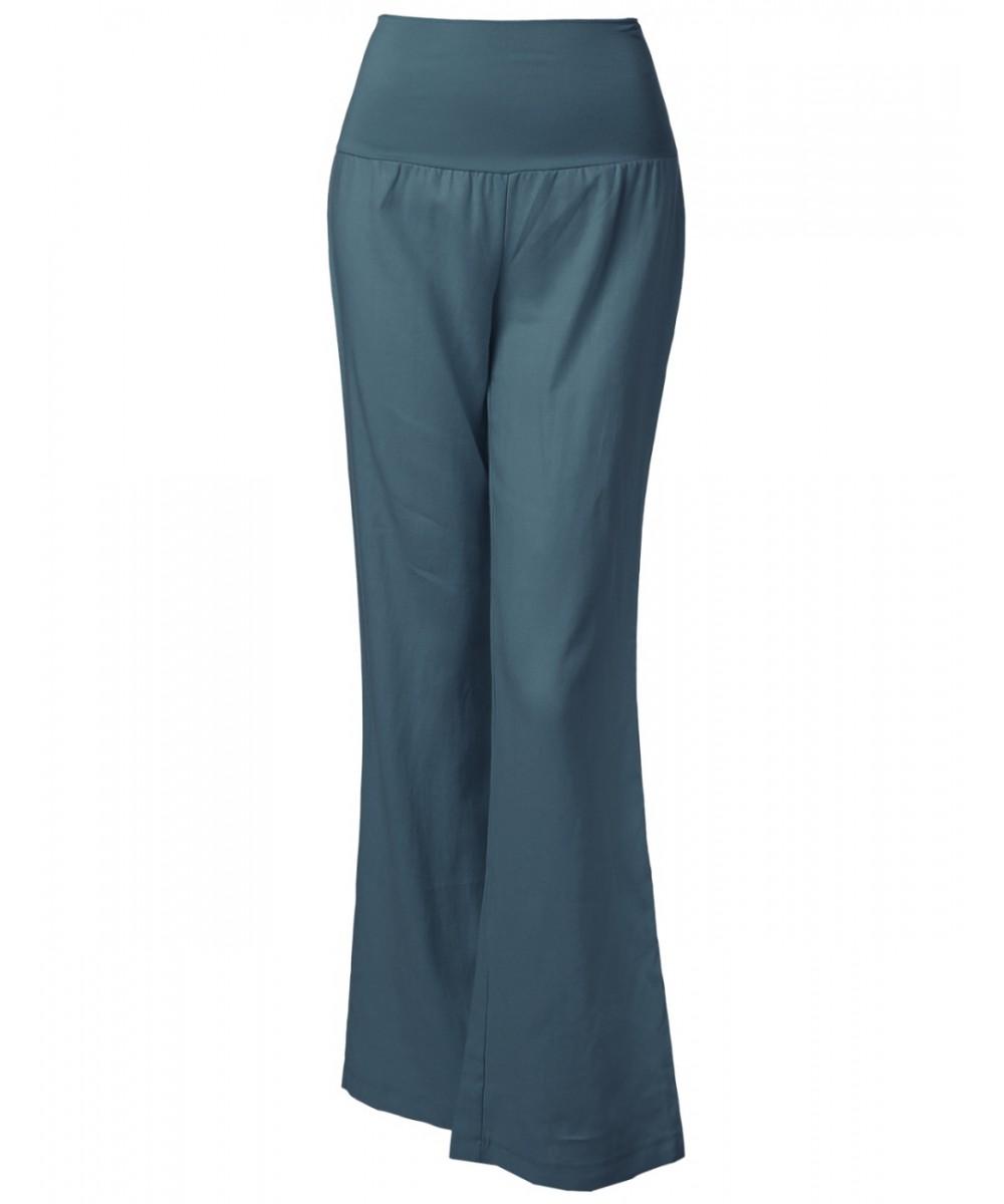 Women's Wide Leg Linen Pants Fold Over Waistband - FashionOutfit.com