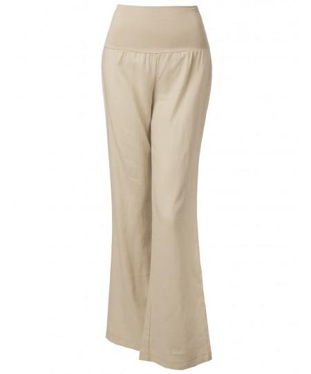 Women S Wide Leg Linen Pants Fold Over Waistband