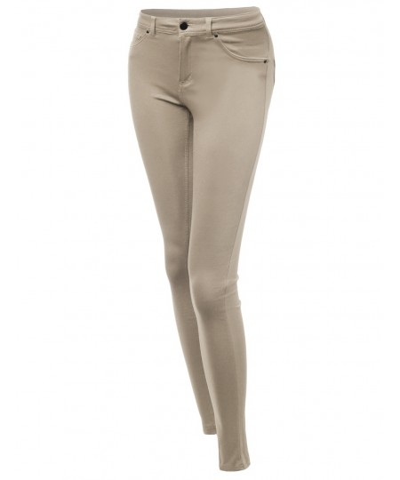 Women's Basic Everyday Skinny Stretchy Colored Knit Jeggings Pants