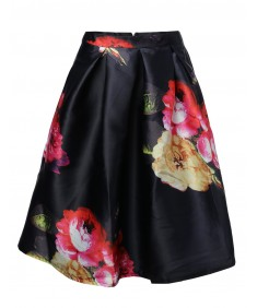 Women's High Waisted A Line Floral Full Vintage Skater Midi Skirt Pleats