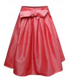 Women's High Waisted A Line Vintage Skater Midi Skirt Pleats Bow Tie