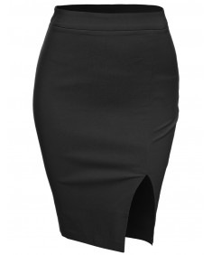 Women's Classic Basic Slim Fit Pencil Office Skirt With Slit