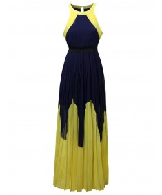Women's Color Block Pleated Maxi Dress