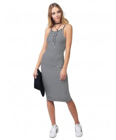 Women's Stripe High Neck Spaghetti Strap Bodycon Midi Maxi Dress