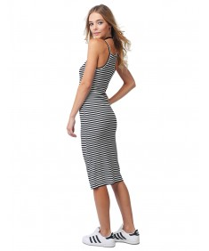Women's Stripe Crew Neck Spaghetti Strap Body-Con Midi Dress