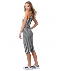 Women's Stripe Crew Neck Spaghetti Strap Body-Con Midi Dress