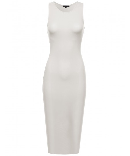 Women's Solid Sleeveless Crew Neck Body-Con Midi Dress