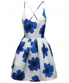 Women's Spaghetti Floral A-line Fit Flare Vintage Cocktail Dress