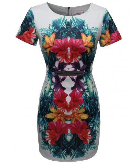 Women's Short Sleeve Waist Cut Out Floral Tropical Cocktail Dress