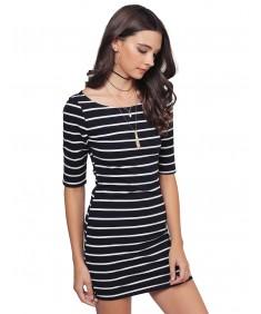 Women's Basic Every Day Boat Neck Stripe 3/4 Sleeve Dress