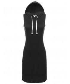 Women's Basic Sleeveless Relaxed Hooded Midi Dress