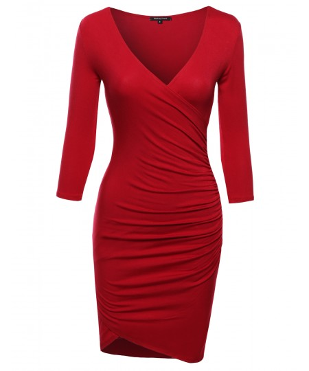 Women's Super Sexy 3/4 Sleeve Body Con Wrap Dress