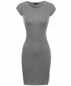 Women's Everyday Lounging Round Neck Cap Sleeve Fitted Dress