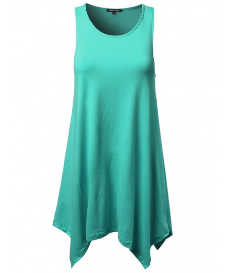 Women's Sleeveless Trapeze Asymmetrical Hem Dress