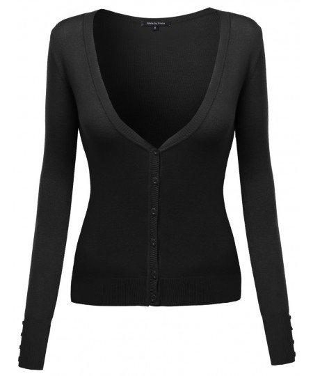 Women's Deep V-Neck Cardigan With Various Colors