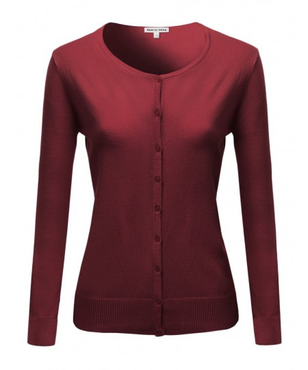 Women's Casual Basic Solid Long Sleeves Button Closure Cardigan