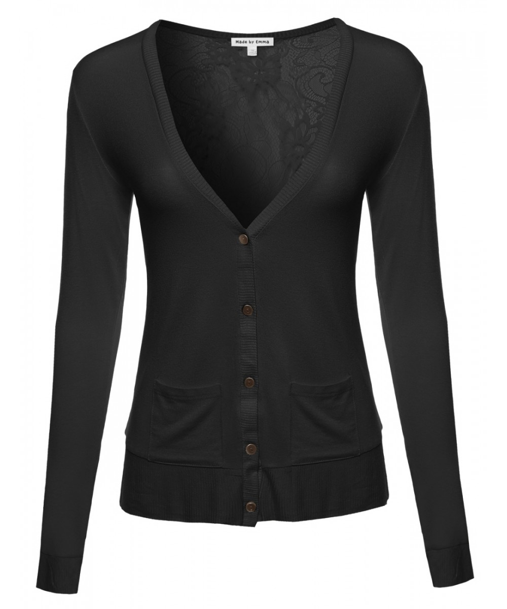 Women's Classic Basic Lightweight Cardigan with Sheer Lace Back ...