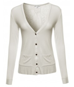 Women's Classic Basic Lightweight Cardigan with Sheer Lace Back