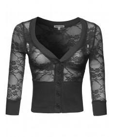 Women's All Lace 3/4 Sleeve Cardigan