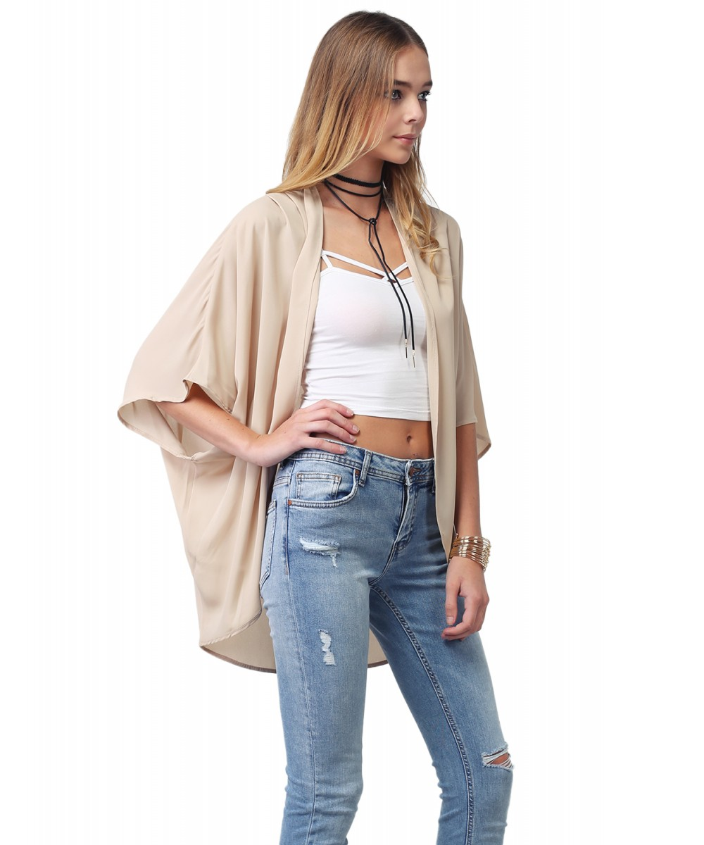 Women's Solid Loose Flowy Sheer Chiffon Blouse Kimono Cardigan Top ...