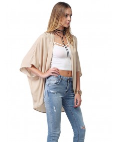 Women's Flowy Sheer Loose Chiffon Kimono Cardigan & Blouse Top Solid