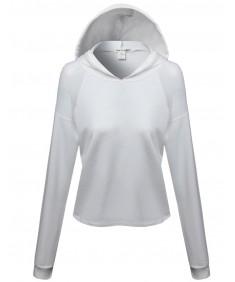 Women's Mesh Shoulder Contrast Long Sleeve Crop Hoodie