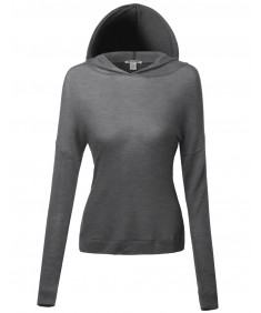 Women's Basic Lightweight Back Cross Long Sleeve Hoodie