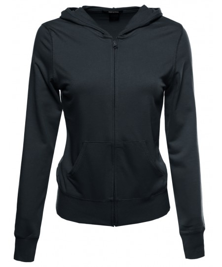 Women's Classic Basic French Terry Zip Up Hoodie