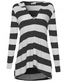 Women's Everyday Lounge Super Soft Striped Long Sleeve W/ Hood