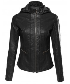 Women's Bike Rider Moto Leather Jacket with Detachable Hood