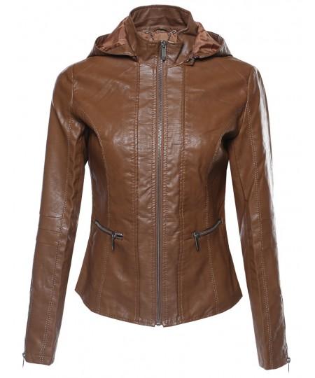 Women's Bike Rider Moto Leather Jacket with Detachable Hood