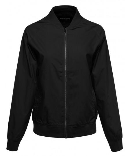 Women's Classic Basic Style Zip Up Bomber Jacket