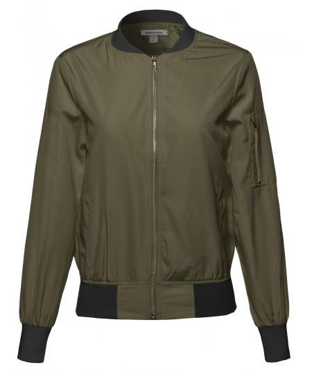 Women's Classic Style Zip Up Bomber Jacket