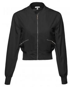 Women's Classic Style Zip Up Long Bomber Jacket