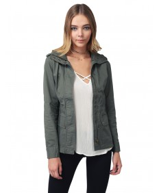 Women's Military Style Zipper Snap Button Closure Jacket