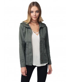 Women's Military Style Zipper Snap Button Closure Jacket