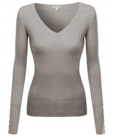 Women's V-Neck Longsleeve Buttoned Up Sweater Top
