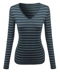 Women's Basic V-Neck Stripe Sweater Various Color Tops