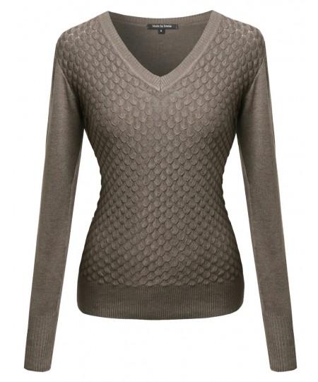 Women's Basic V Neck Knit Pullover
