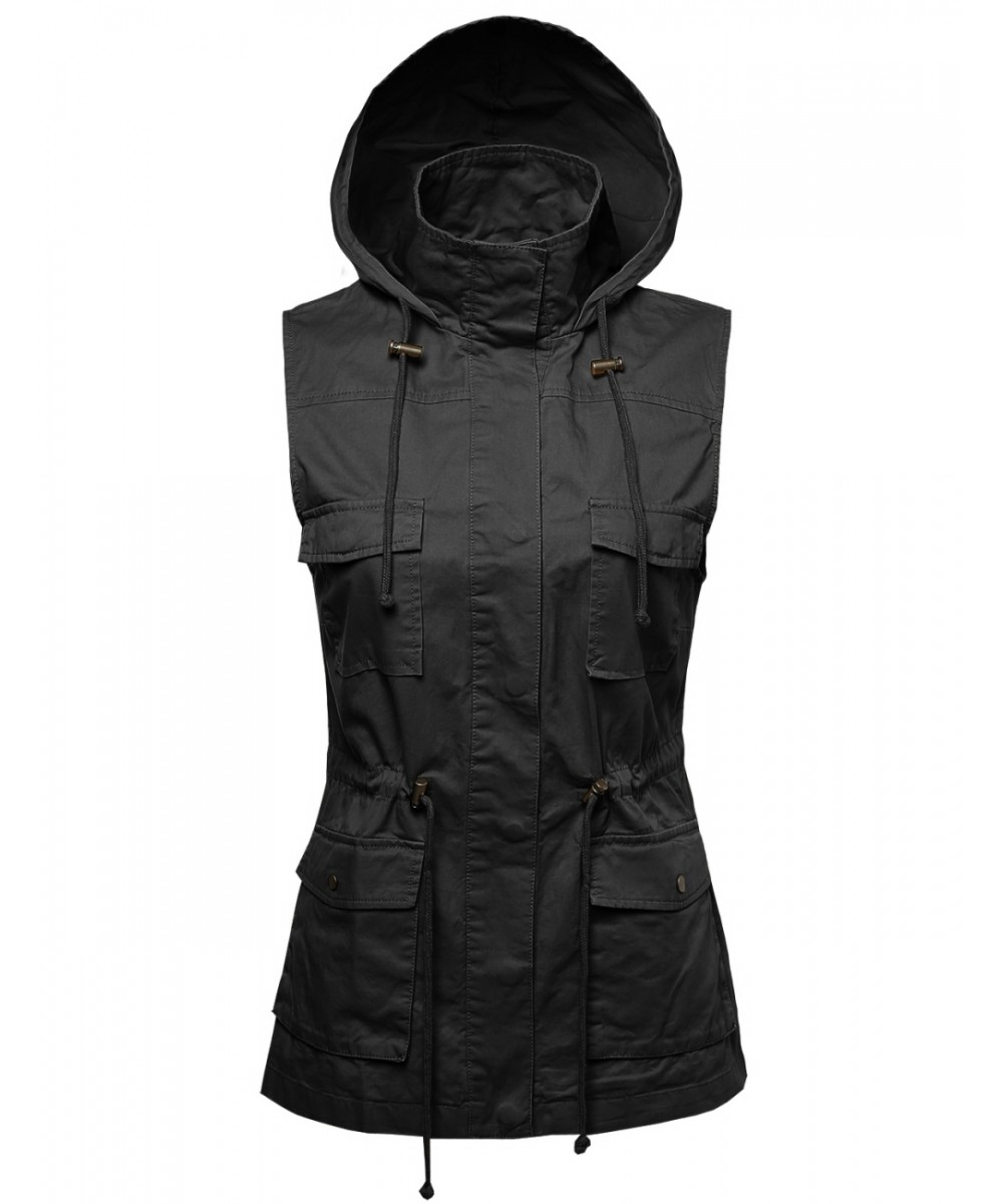 Women's Sleeveless Safari Military Hooded Vest Jacket - Women's Sleeveless Safari Military Hooded Vest Jacket