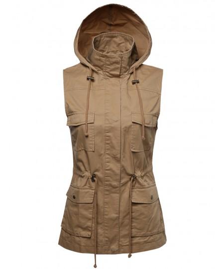 Women's Sleeveless Safari Military Hooded Vest Jacket