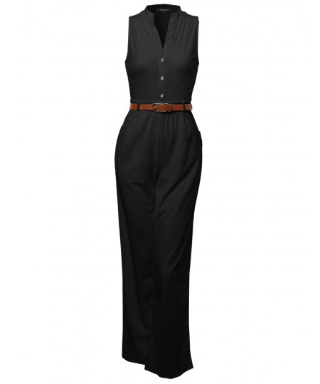 Women's Sleeveless Button Up Long Romper Jumpsuit with Belt