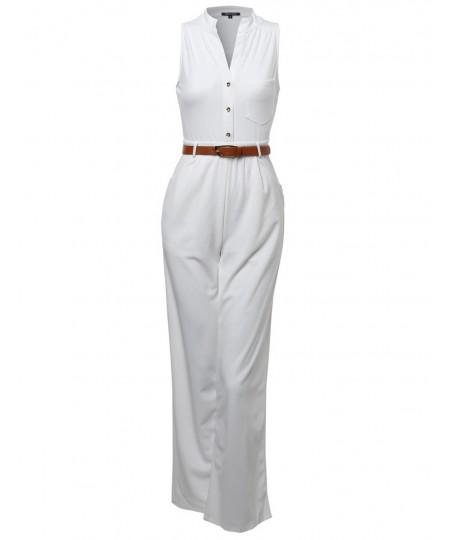 Women's Sleeveless Button Up Long Romper Jumpsuit with Belt