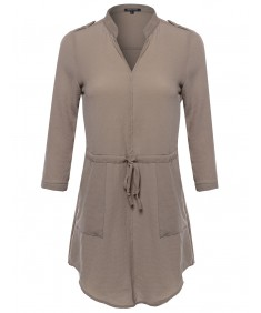 Women's Simple Chic 3/4 Sleeve V-Neck Blouse Dress W/ Waist Drawstrings