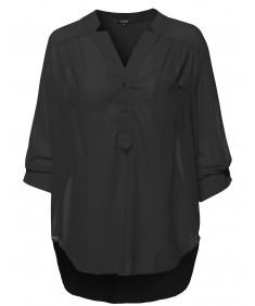 Women's Plus Size Henley Neck W/ Pocket 3/4 Sleeve Sheer Blouse Top