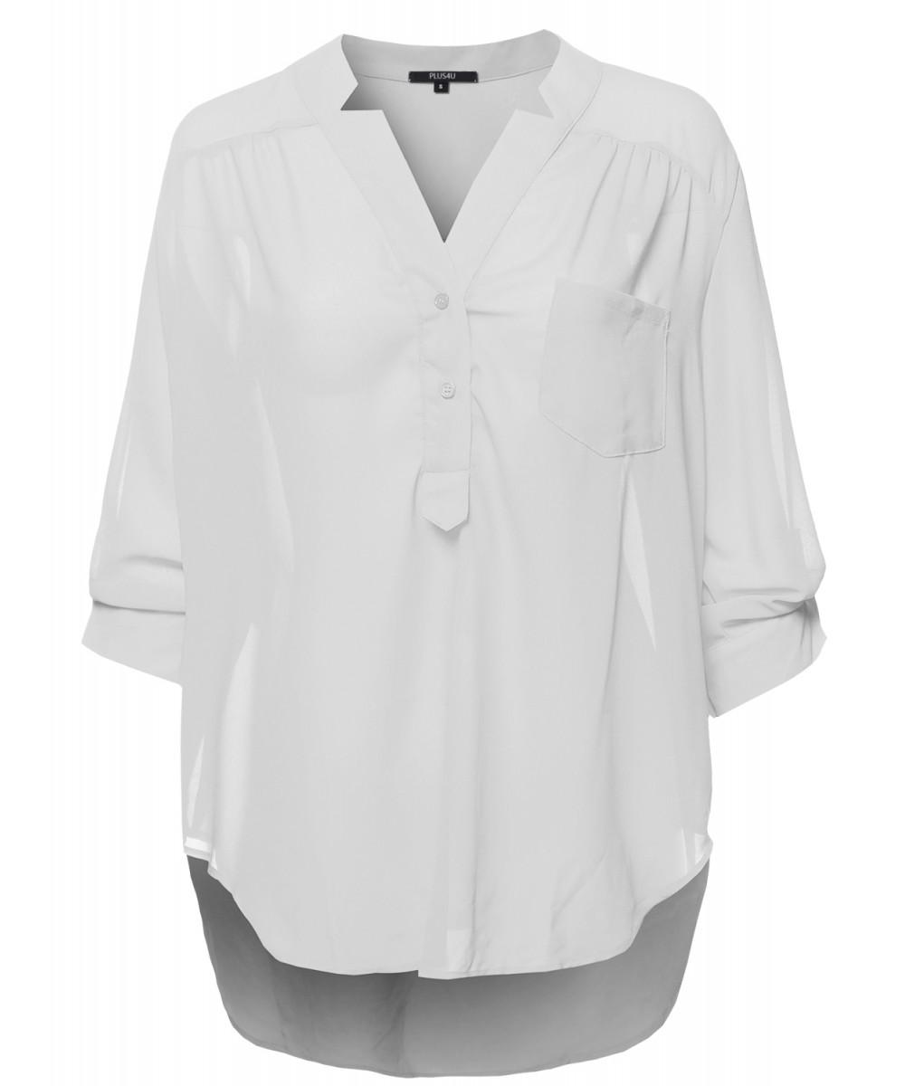 636733f9eb4dd Plus Size Sheer White Shirt