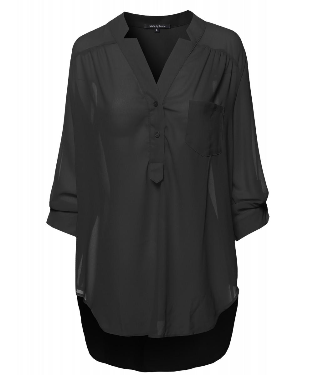 27c0d08d Women's Henley Neck w/ Pocket 3/4 Sleeve Sheer Blouse Top ...