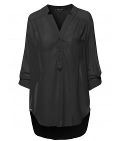 Women's Henley Neck W/ Pocket 3/4 Sleeve Sheer Blouse Top